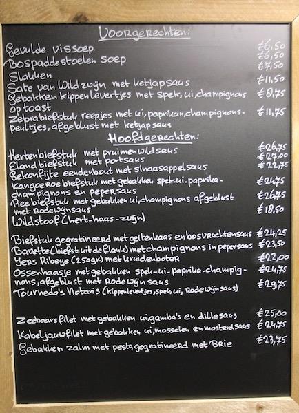 Krijtbord Restaurant Resy's